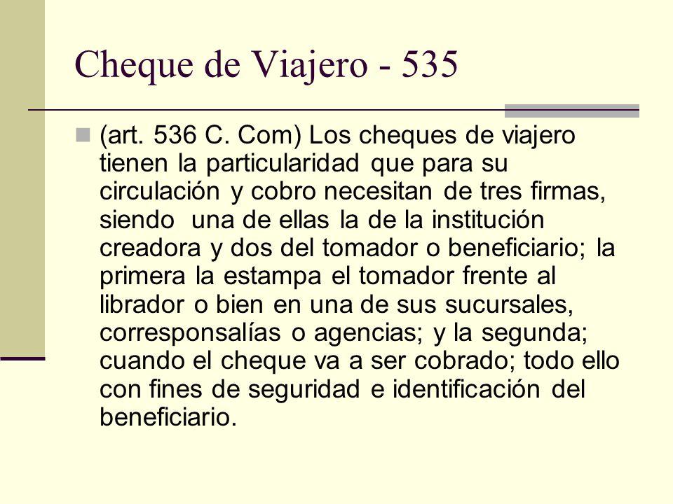 Cheque de Viajero - 535