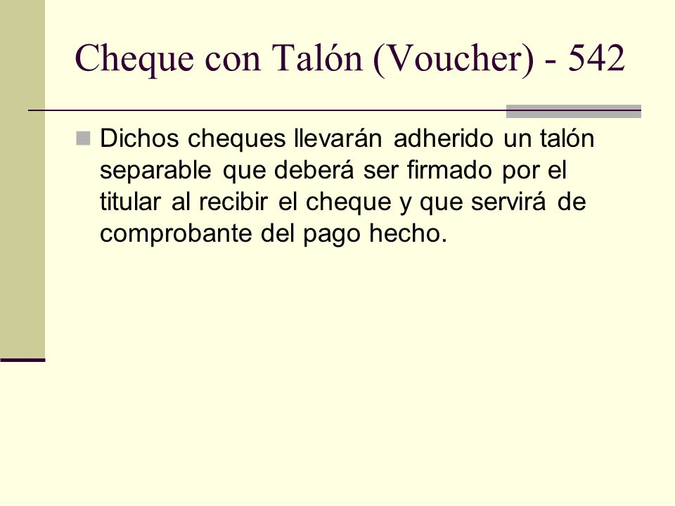 Cheque con Talón (Voucher) - 542