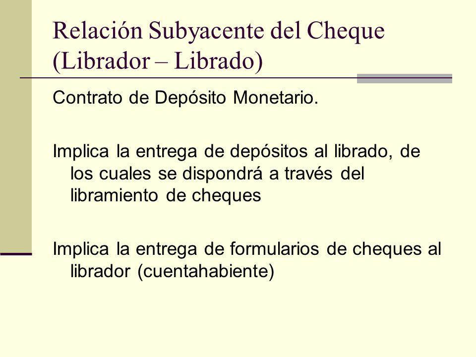 Relación Subyacente del Cheque (Librador – Librado)