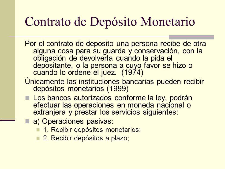 Contrato de Depósito Monetario
