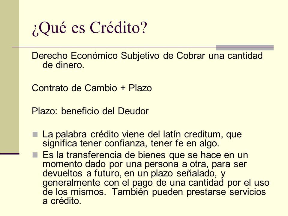¿Qué es Crédito Derecho Económico Subjetivo de Cobrar una cantidad de dinero. Contrato de Cambio + Plazo.