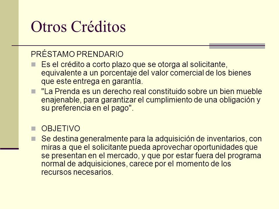 Otros Créditos PRÉSTAMO PRENDARIO