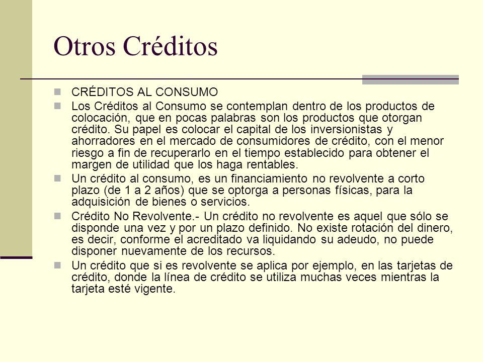 Otros Créditos CRÉDITOS AL CONSUMO