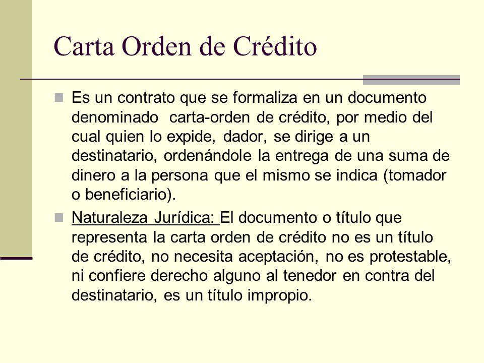 Carta Orden de Crédito