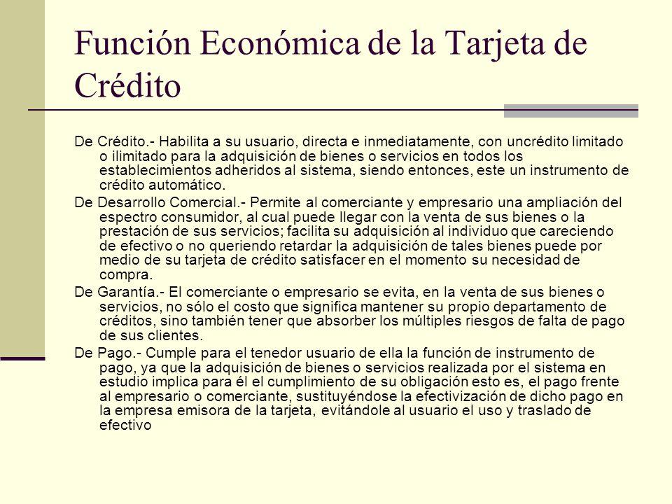 Función Económica de la Tarjeta de Crédito