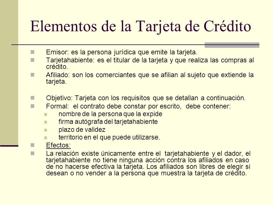 Elementos de la Tarjeta de Crédito