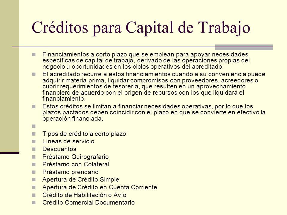 Créditos para Capital de Trabajo