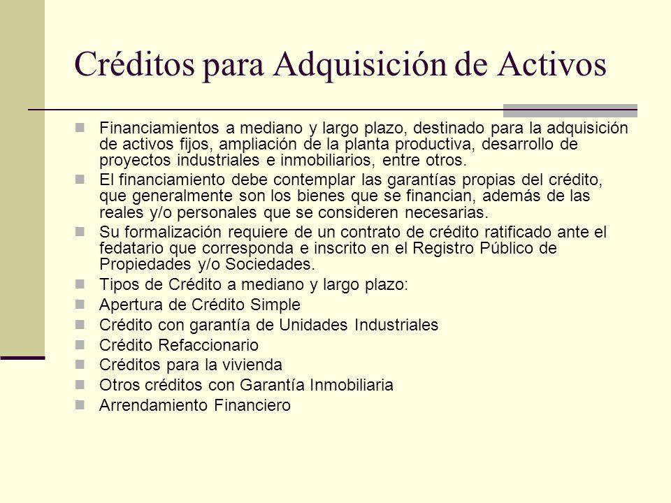 Créditos para Adquisición de Activos