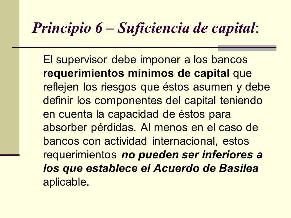 Principio 6 – Suficiencia de capital: