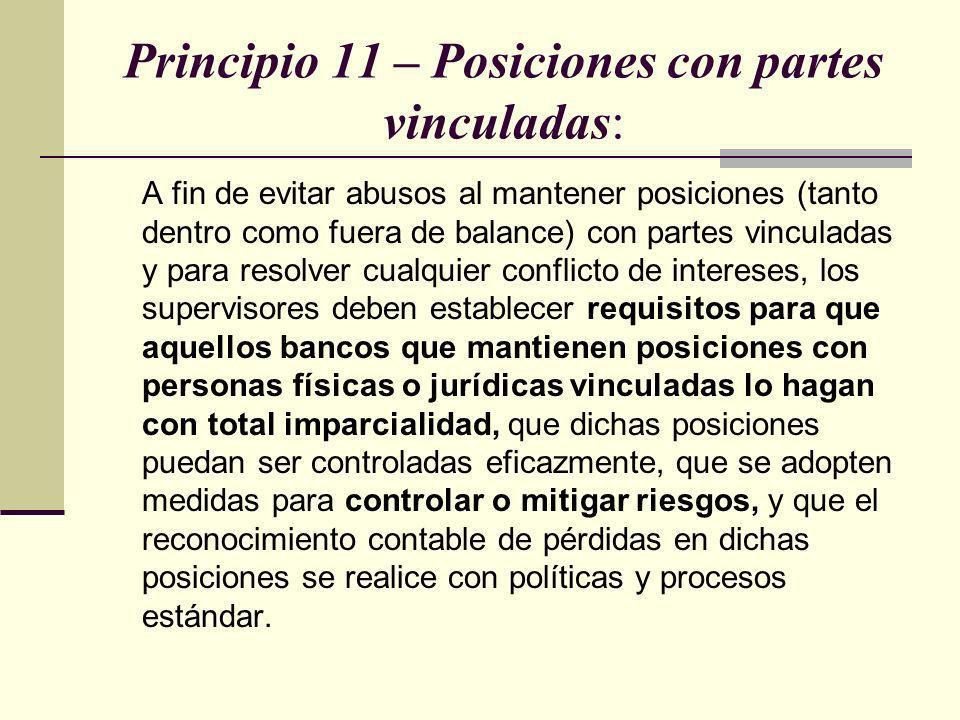 Principio 11 – Posiciones con partes vinculadas: