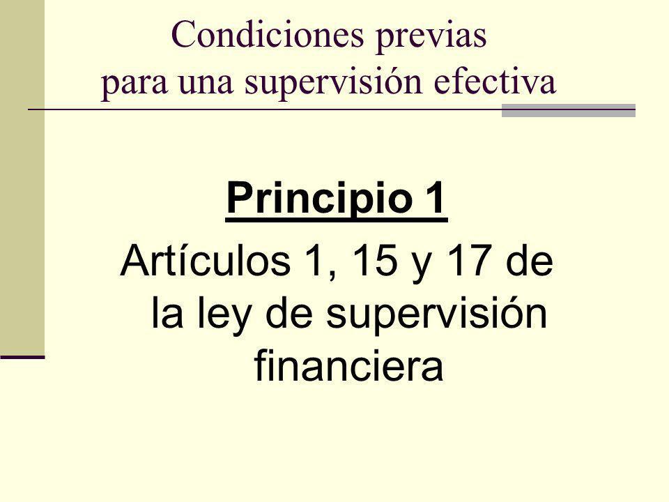 Condiciones previas para una supervisión efectiva