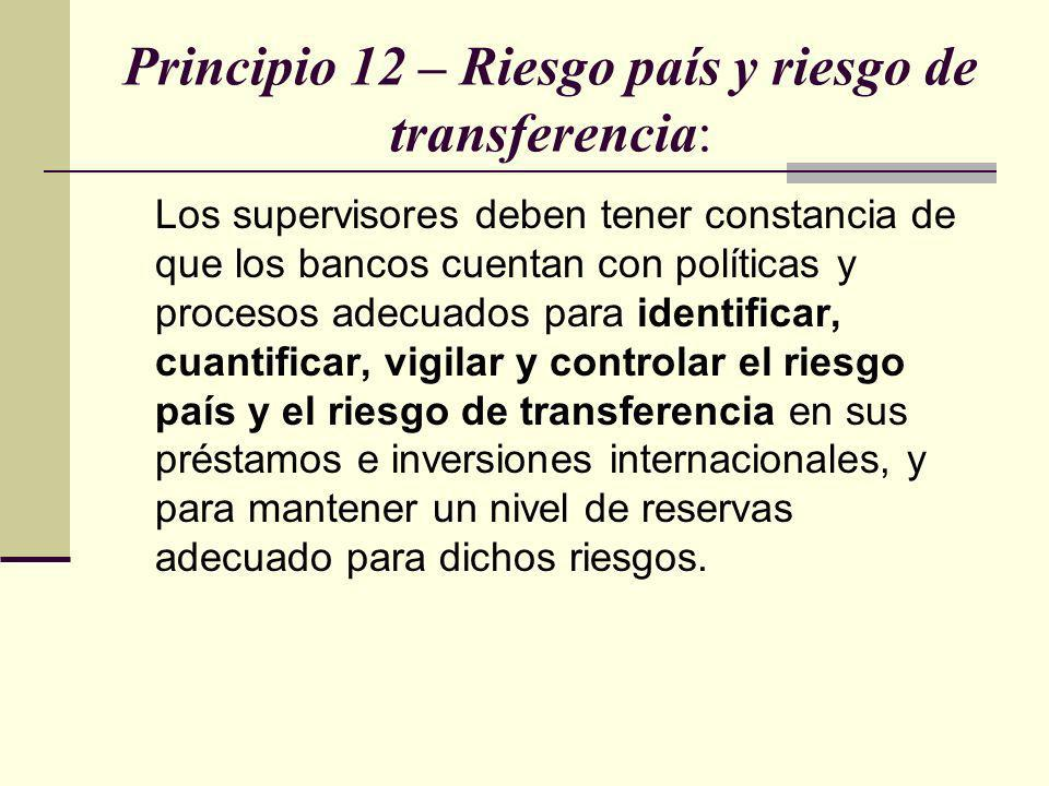Principio 12 – Riesgo país y riesgo de transferencia:
