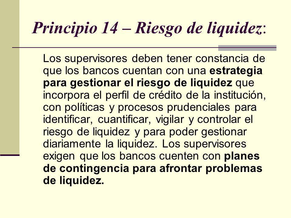 Principio 14 – Riesgo de liquidez: