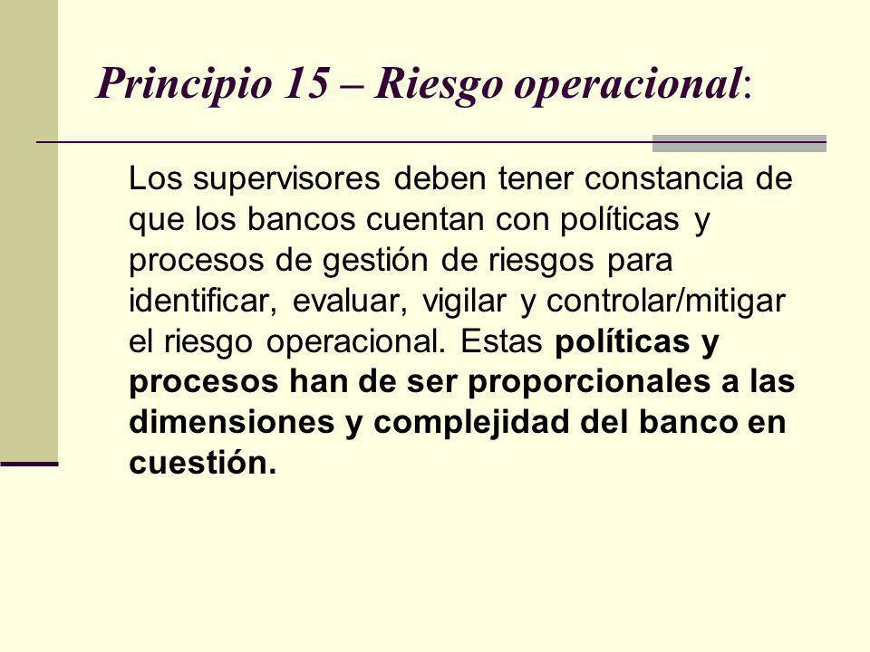 Principio 15 – Riesgo operacional: