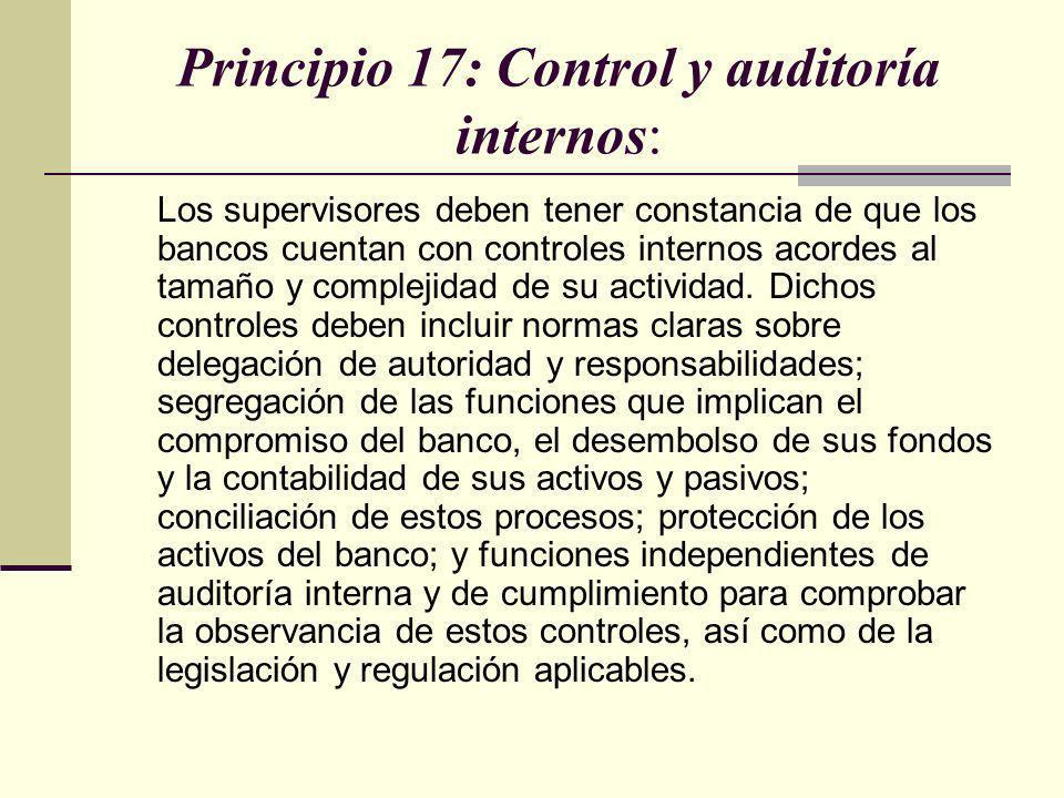 Principio 17: Control y auditoría internos: