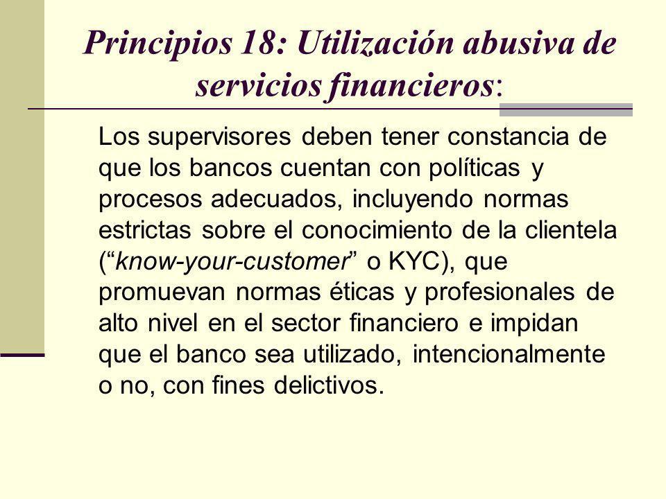 Principios 18: Utilización abusiva de servicios financieros: