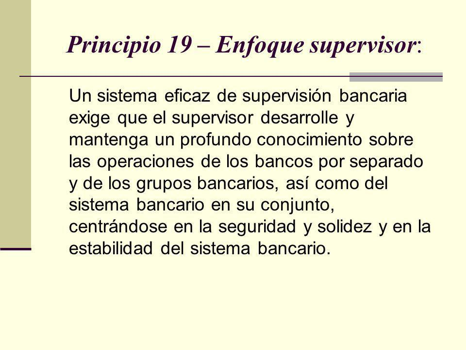 Principio 19 – Enfoque supervisor: