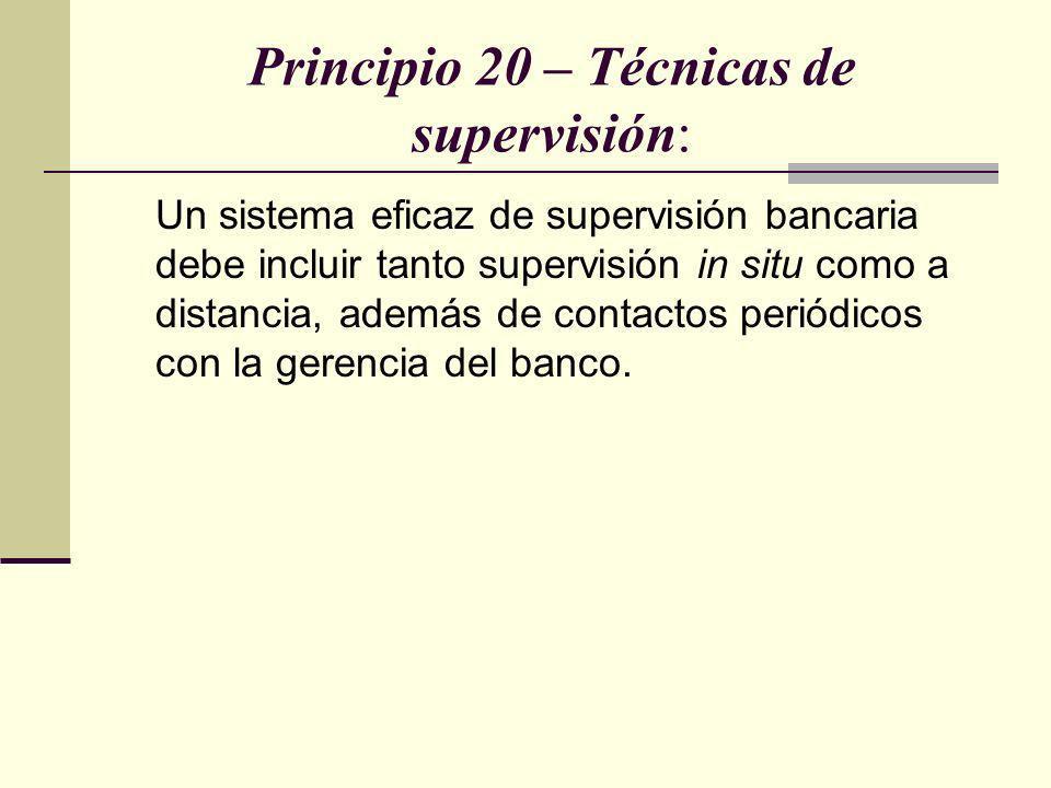 Principio 20 – Técnicas de supervisión: