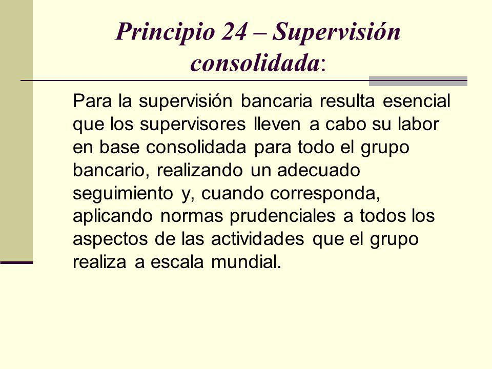 Principio 24 – Supervisión consolidada: