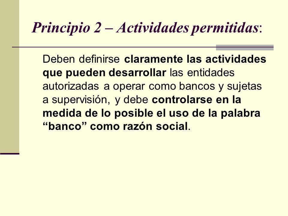 Principio 2 – Actividades permitidas: