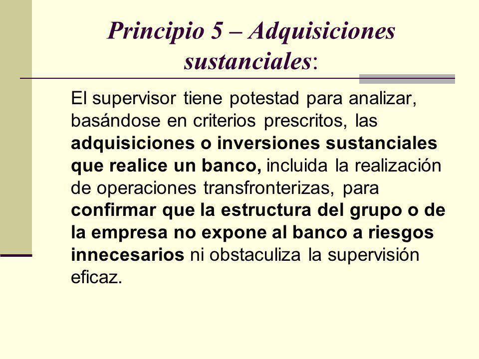 Principio 5 – Adquisiciones sustanciales: