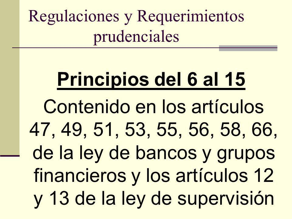 Regulaciones y Requerimientos prudenciales