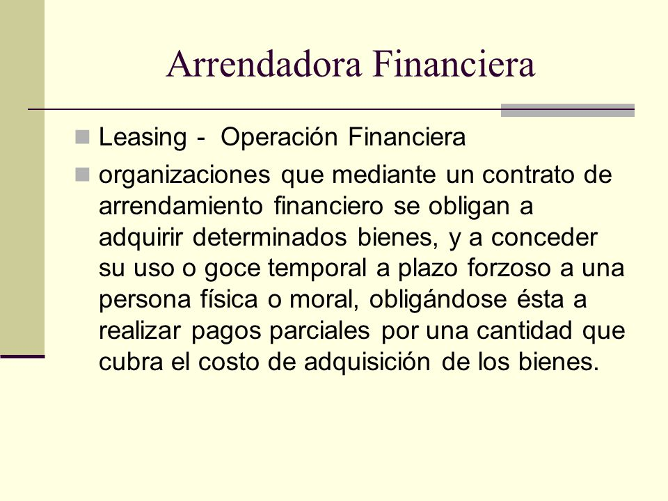 Arrendadora Financiera