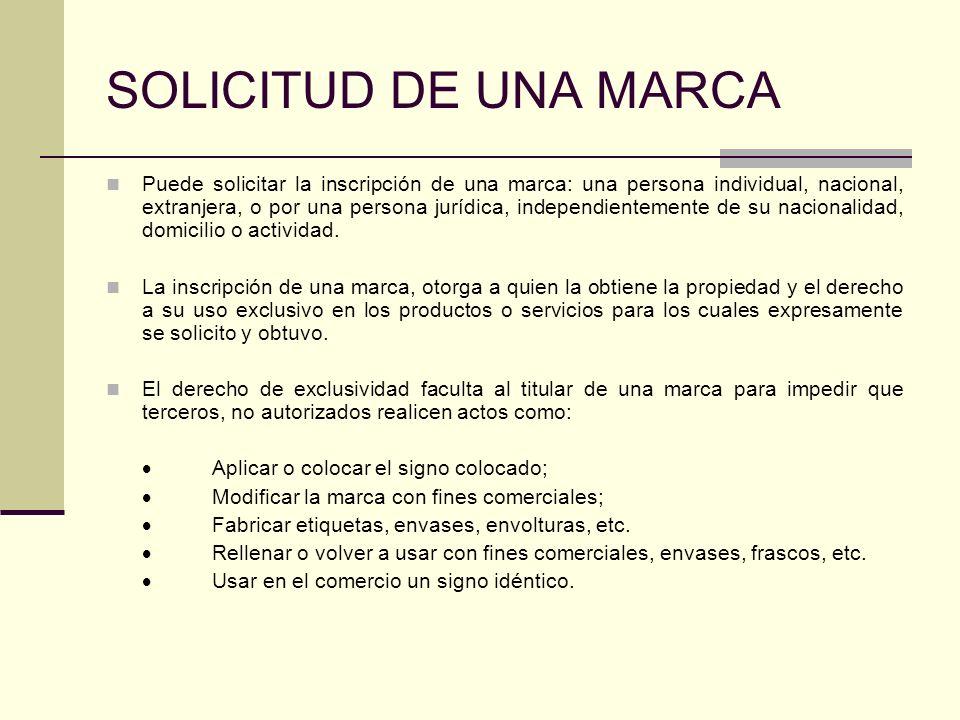 SOLICITUD DE UNA MARCA