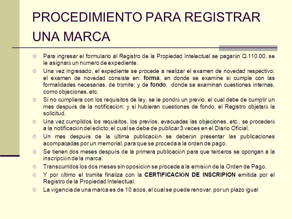 PROCEDIMIENTO PARA REGISTRAR UNA MARCA