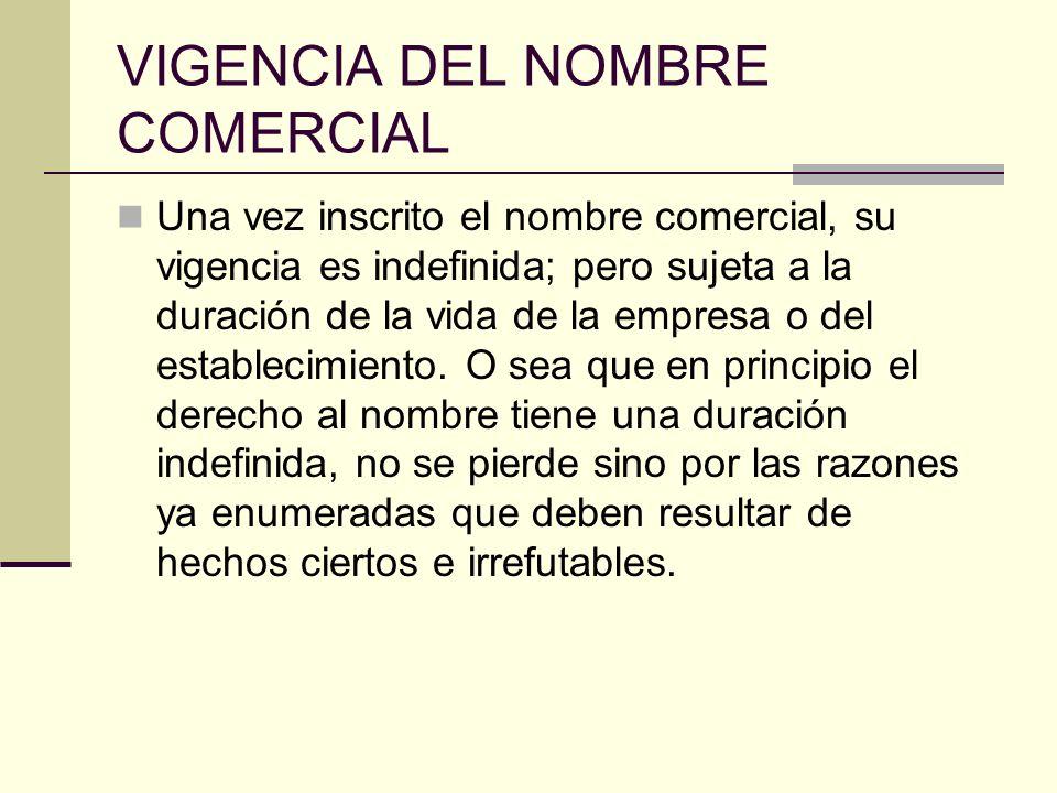 VIGENCIA DEL NOMBRE COMERCIAL