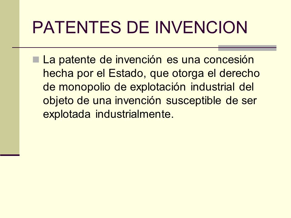 PATENTES DE INVENCION