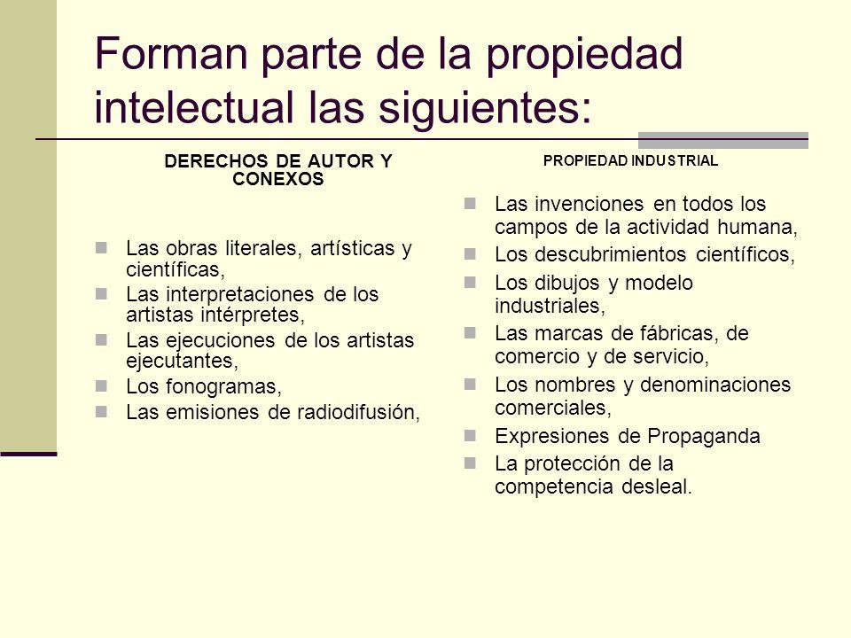 Forman parte de la propiedad intelectual las siguientes: