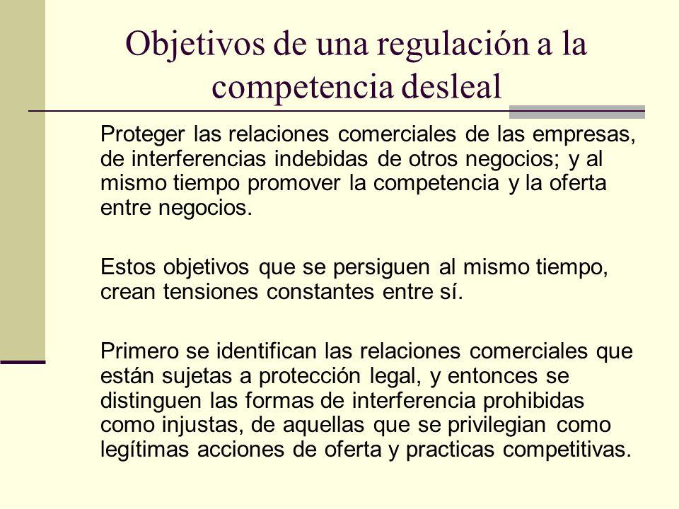 Objetivos de una regulación a la competencia desleal