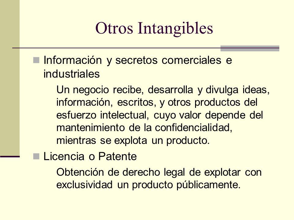 Otros Intangibles Información y secretos comerciales e industriales