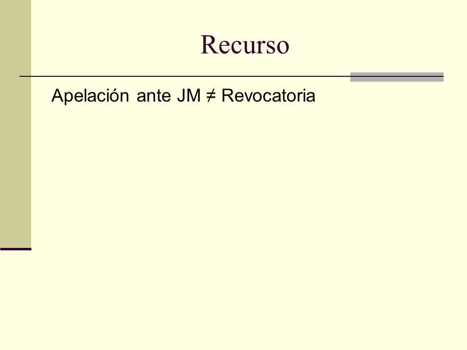 Recurso Apelación ante JM ≠ Revocatoria