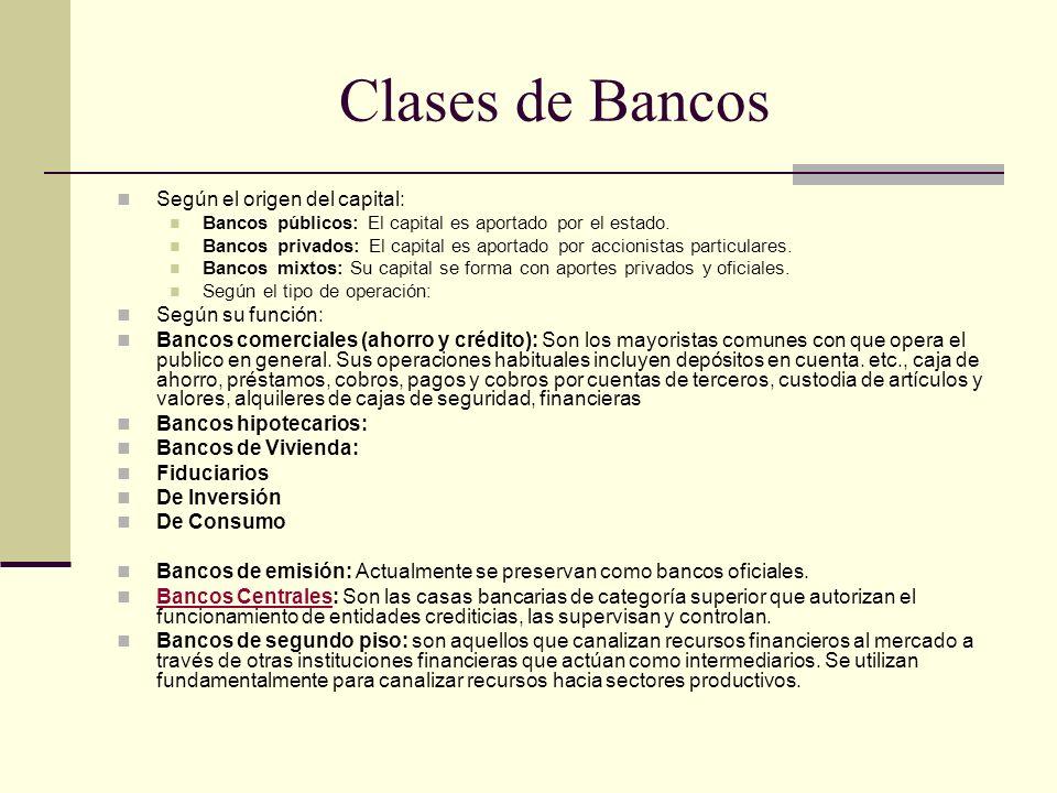 Clases de Bancos Según el origen del capital: Según su función: