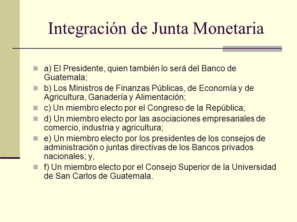 Integración de Junta Monetaria