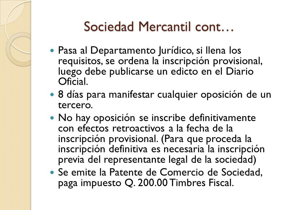 Sociedad Mercantil cont…
