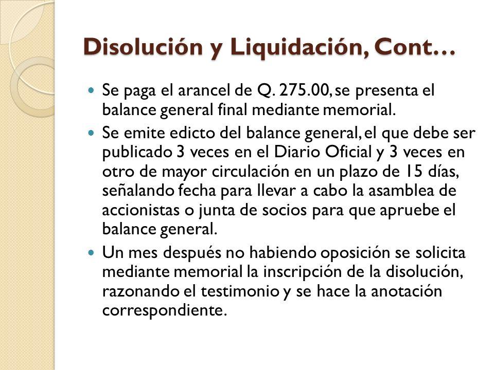 Disolución y Liquidación, Cont…