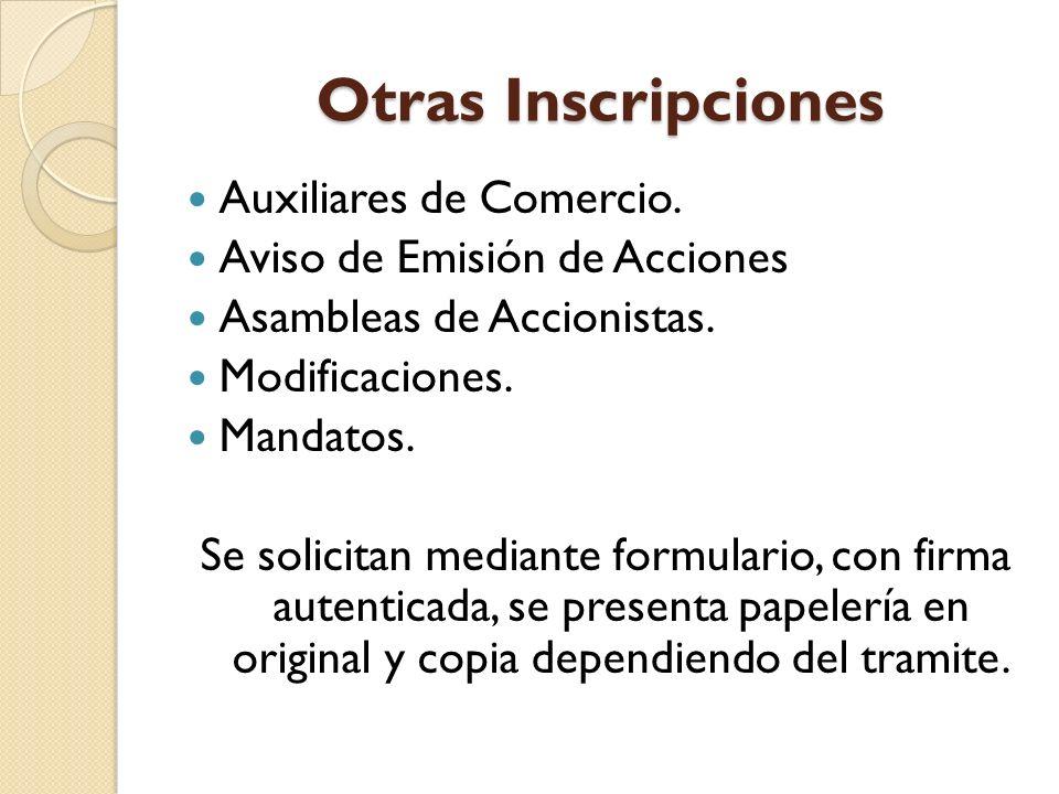 Otras Inscripciones Auxiliares de Comercio.