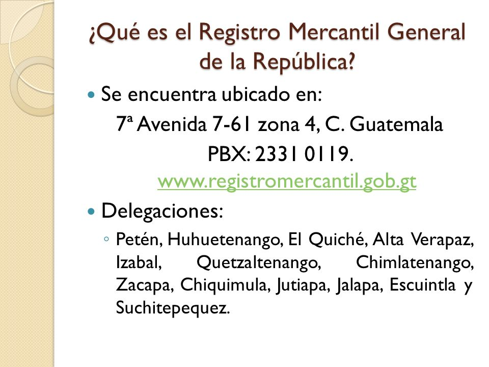 ¿Qué es el Registro Mercantil General de la República