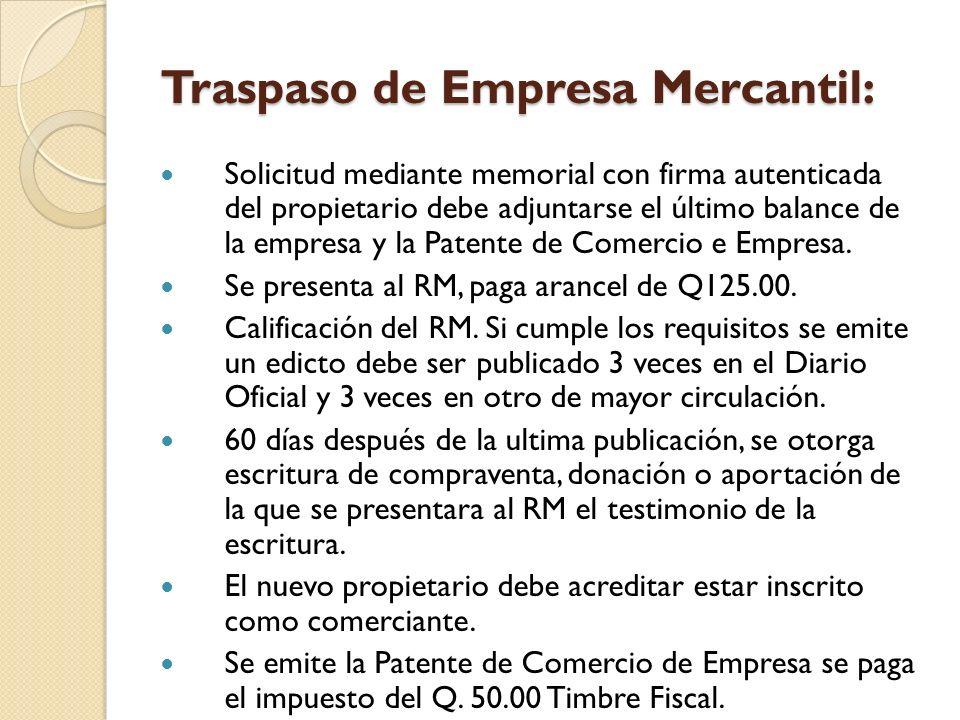 Traspaso de Empresa Mercantil: