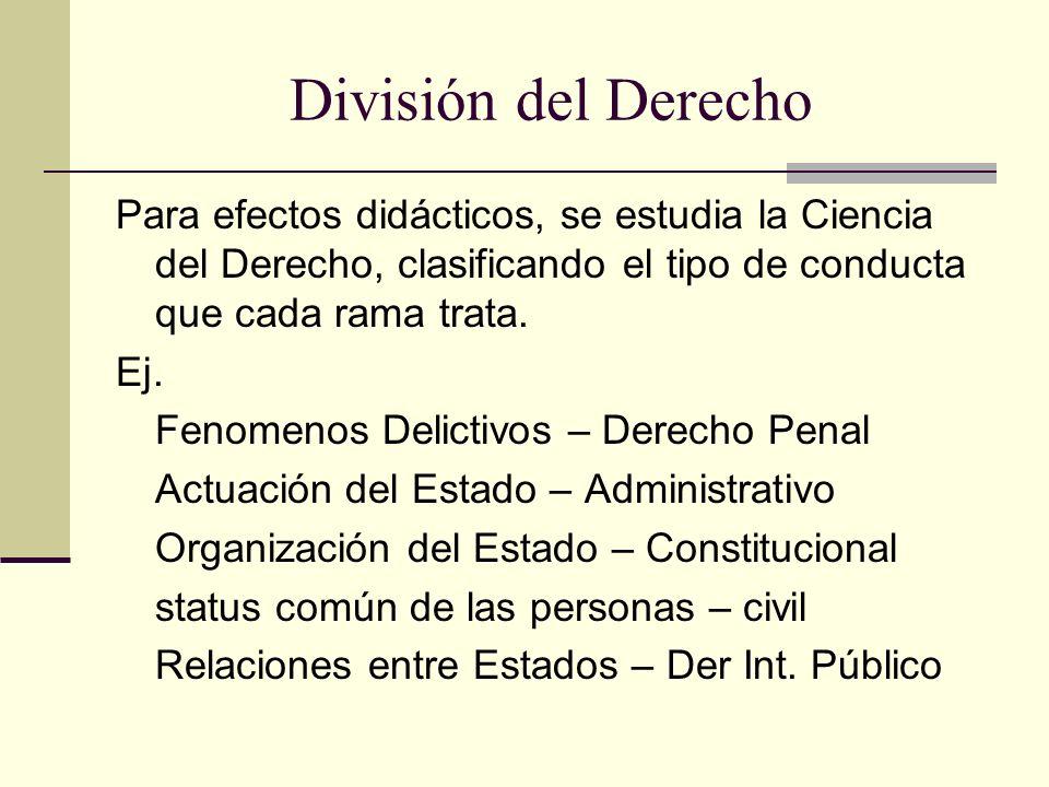 División del Derecho Para efectos didácticos, se estudia la Ciencia del Derecho, clasificando el tipo de conducta que cada rama trata.