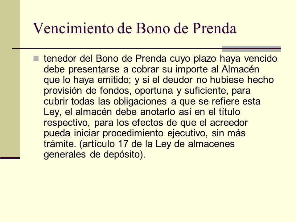 Vencimiento de Bono de Prenda