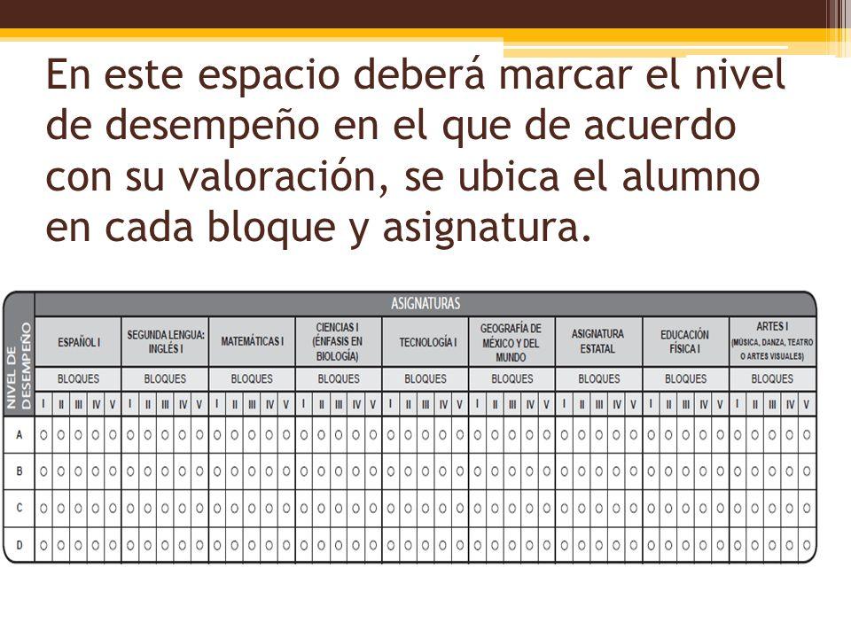 En este espacio deberá marcar el nivel de desempeño en el que de acuerdo con su valoración, se ubica el alumno en cada bloque y asignatura.