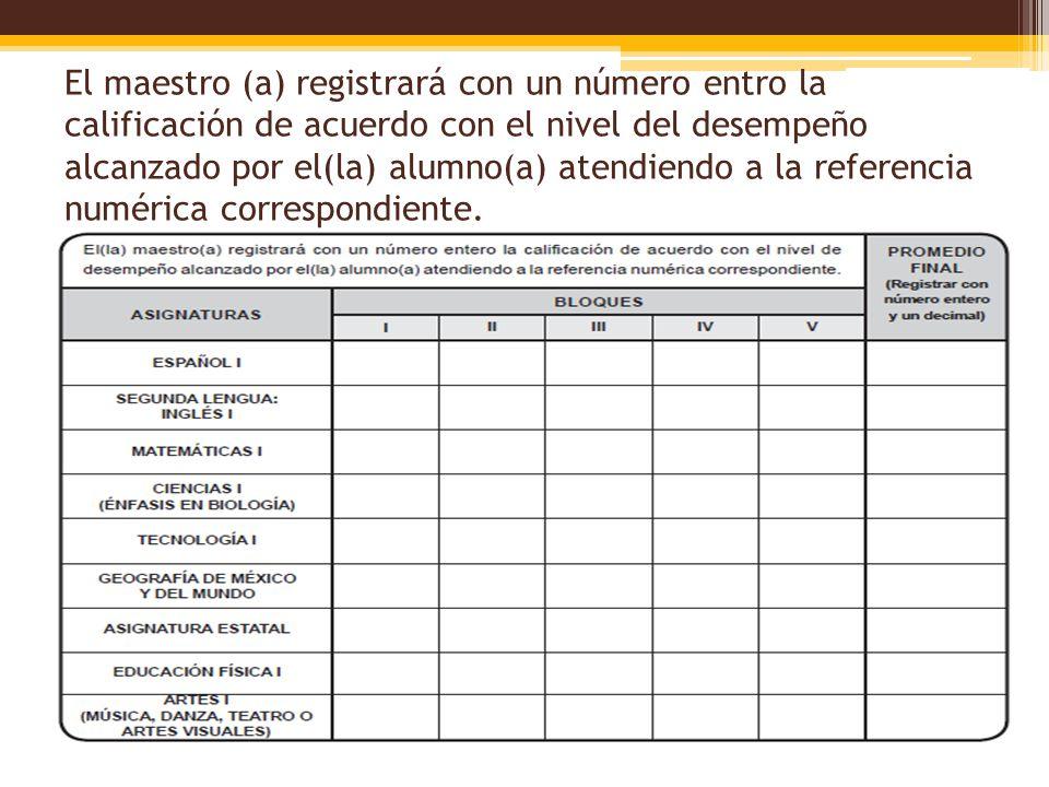 El maestro (a) registrará con un número entro la calificación de acuerdo con el nivel del desempeño alcanzado por el(la) alumno(a) atendiendo a la referencia numérica correspondiente.