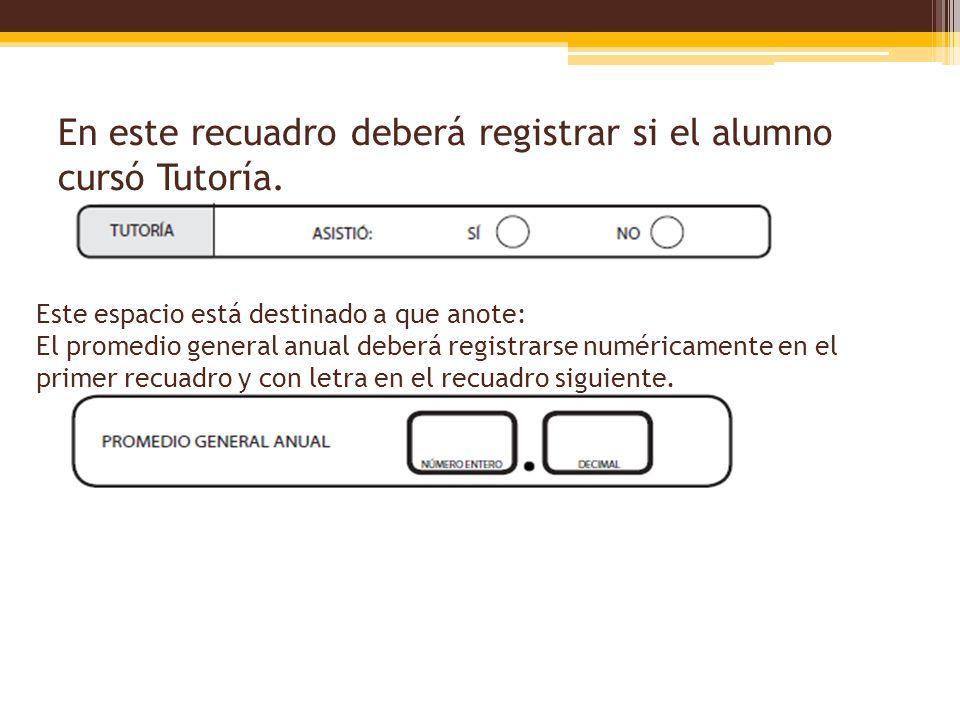 En este recuadro deberá registrar si el alumno cursó Tutoría.