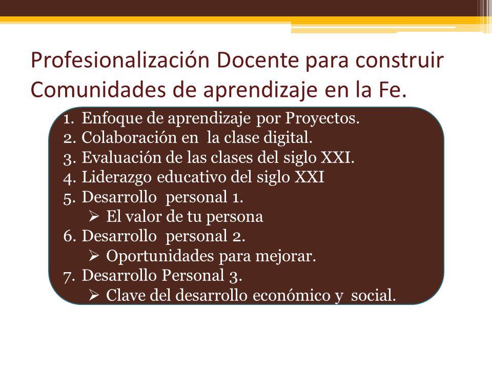 Profesionalización Docente para construir Comunidades de aprendizaje en la Fe.