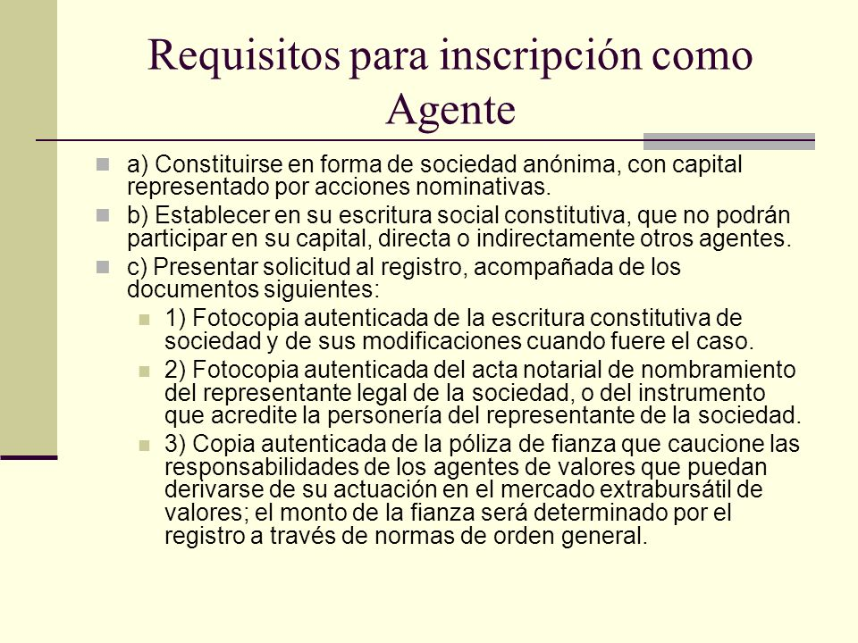 Requisitos para inscripción como Agente