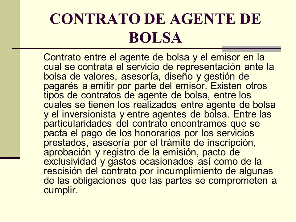 CONTRATO DE AGENTE DE BOLSA